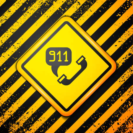 Black Telephone with emergency call 911 icon isolated on yellow background. Police, ambulance, fire department, call, phone. Warning sign. Vector Ilustracja