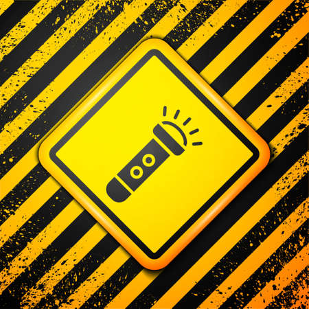 Black Flashlight icon isolated on yellow background. Warning sign. Vector