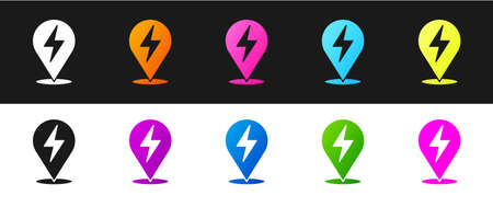 Set Lightning bolt icon isolated on black and white background. Flash icon. Charge flash icon. Thunder bolt. Lighting strike. Vector Çizim