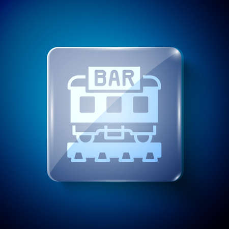 White Restaurant train icon isolated on blue background. Square glass panels. Vector