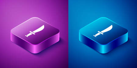Isometric Pirate sword icon isolated on blue and purple background. Sabre sign. Square button. Vector