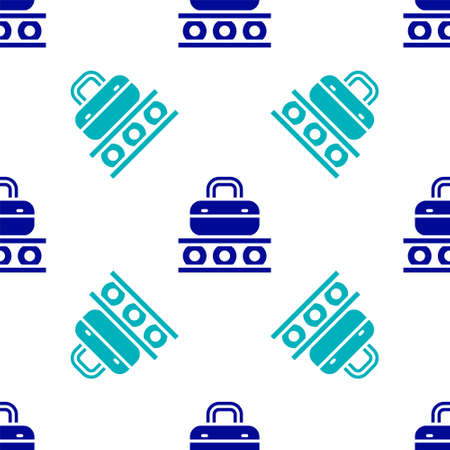 Blue Airport conveyor belt with passenger luggage, suitcase, bag, baggage icon isolated seamless pattern on white background. Vector