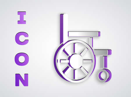 Paper cut Wheelchair for disabled person icon isolated on grey background. Paper art style. Vector Ilustracja