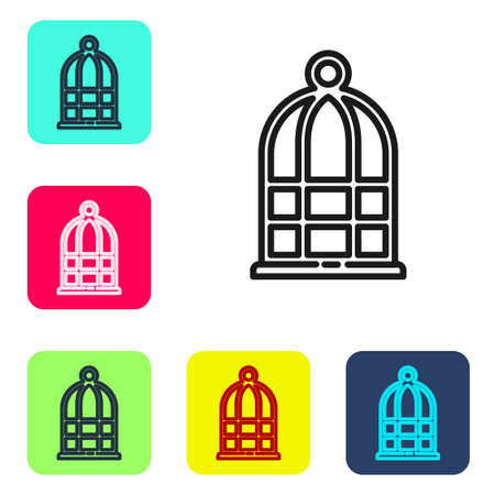 Black line Cage for birds icon isolated on white background. Set icons in color square buttons. Vector Illustration