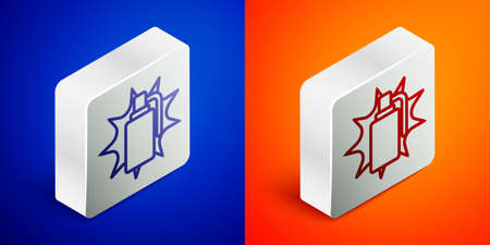 Isometric line Hand grenade icon isolated on blue and orange background. Bomb explosion. Silver square button. Vector
