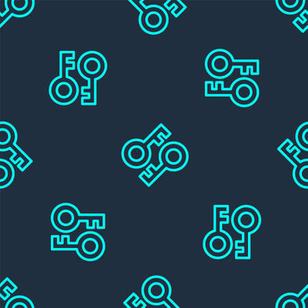 Green line Cryptocurrency key icon isolated seamless pattern on blue background. Concept of cyber security or private key, digital key with technology interface. Vector Vector Illustration