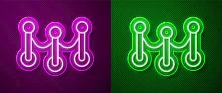 Glowing neon line Rope barrier icon isolated on purple and green background. VIP event, luxury celebration. Celebrity party entrance. Vector