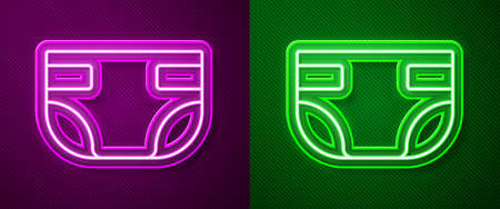 Glowing neon line Baby absorbent diaper icon isolated on purple and green background. Vector