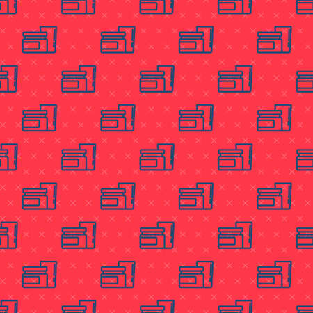 Blue line Baby food icon isolated seamless pattern on red background. Vector Ilustracja