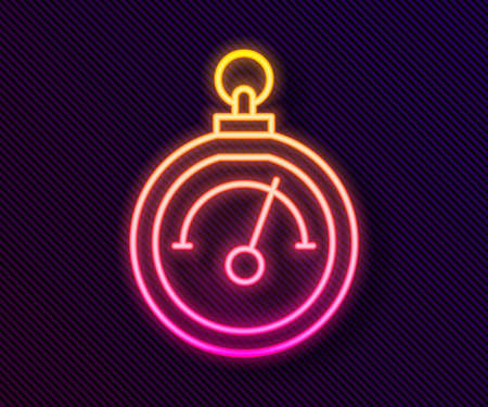 Glowing neon line Barometer icon isolated on black background. Vector Vector Illustration