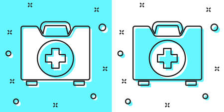 Black line First aid kit icon isolated on green and white background. Medical box with cross. Medical equipment for emergency. Healthcare concept. Random dynamic shapes. Vector Illustration