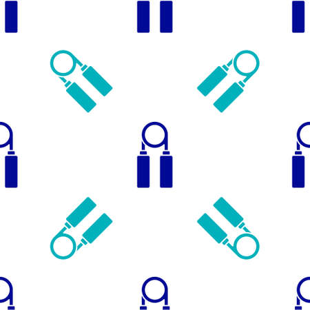 Blue Sport expander icon isolated seamless pattern on white background. Sport equipment. Vector Illustration