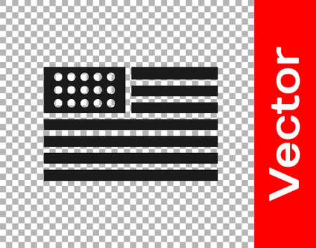 Black American flag icon isolated on transparent background. Flag of USA. United States of America. Vector Illustration