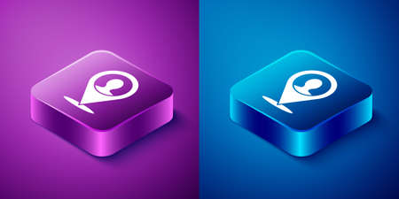 Isometric Map marker with a silhouette of a person icon isolated on blue and purple background. GPS location symbol. Square button. Vector