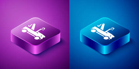 Isometric Tow truck icon isolated on blue and purple background. Square button. Vector