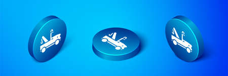 Isometric Tow truck icon isolated on blue background. Blue circle button. Vector
