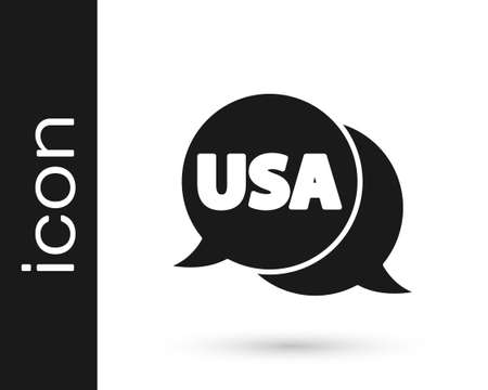 Black USA label icon isolated on white background. United States of America. Vector