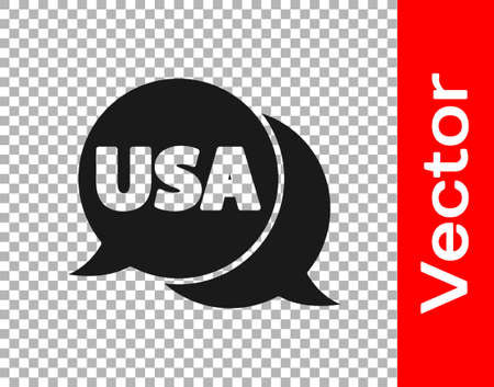 Black USA label icon isolated on transparent background. United States of America. Vector