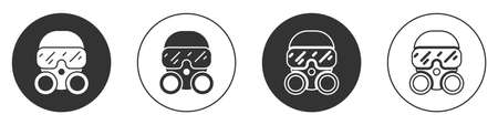 Black Gas mask icon isolated on white background. Respirator sign. Circle button. Vector