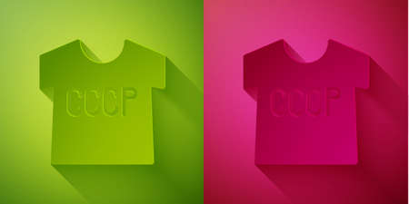 Paper cut USSR t-shirt icon isolated on green and pink background. Paper art style. Vector 向量圖像