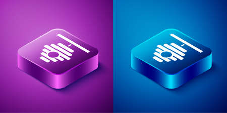 Isometric Hive for bees icon isolated on blue and purple background. Beehive symbol. Apiary and beekeeping. Sweet natural food. Square button. Vector