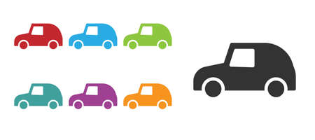 Black Toy car icon isolated on white background. Set icons colorful. Vector Ilustracja