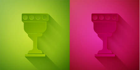 Paper cut Medieval goblet icon isolated on green and pink background. Holy grail. Paper art style. Vector Vectores