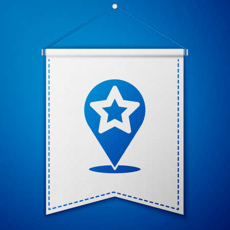 Blue Map pointer with star icon isolated on blue background. Star favorite pin map icon. Map markers. White pennant template. Vector