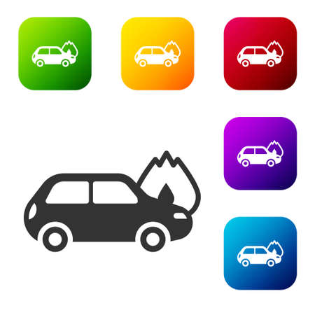 Black Burning car icon isolated on white background. Car on fire. Broken auto covered with fire and smoke. Set icons in color square buttons. Vector Ilustracja
