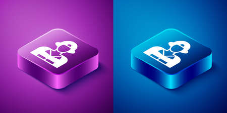 Isometric Firefighter icon isolated on blue and purple background. Square button. Vector Çizim