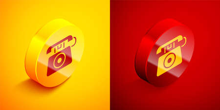 Isometric Telephone with emergency call 911 icon isolated on orange and red background. Police, ambulance, fire department, call, phone. Circle button. Vector