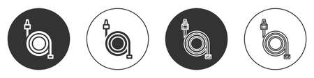 Black Fire hose reel icon isolated on white background. Circle button. Vector