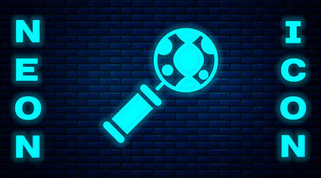 Glowing neon DNA research, search icon isolated on brick wall background. Magnifying glass and dna chain. Genetic engineering, cloning, paternity testing. Vector