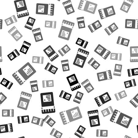 Black Biologically active additives icon isolated seamless pattern on white background. Vector