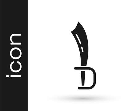 Black Pirate sword icon isolated on white background. Sabre sign. Vector