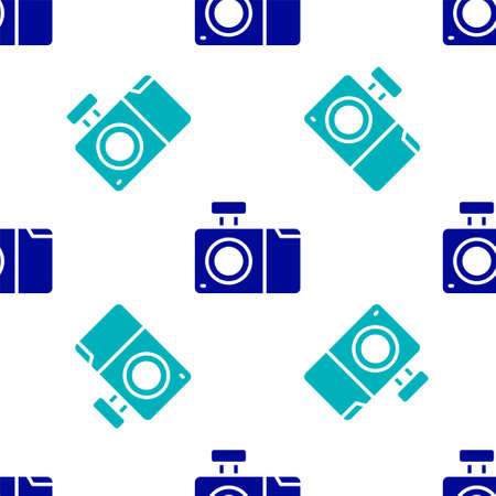 Blue Photo camera icon isolated seamless pattern on white background. Foto camera icon. Vector Illustration
