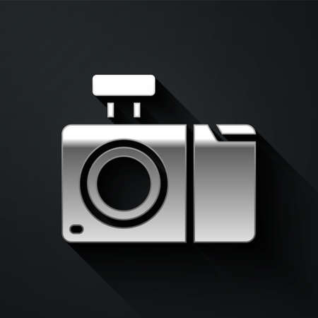 Silver Photo camera icon isolated on black background. Foto camera icon. Long shadow style. Vector