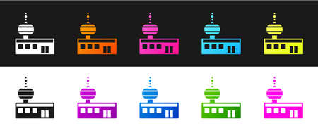Set Airport control tower icon isolated on black and white background. Vector