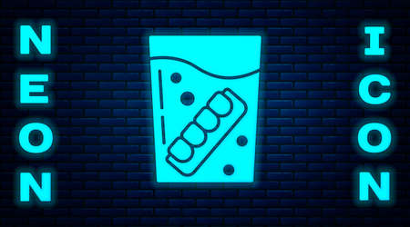 Glowing neon False jaw in glass icon isolated on brick wall background. Dental jaw or dentures, false teeth with incisors. Vector