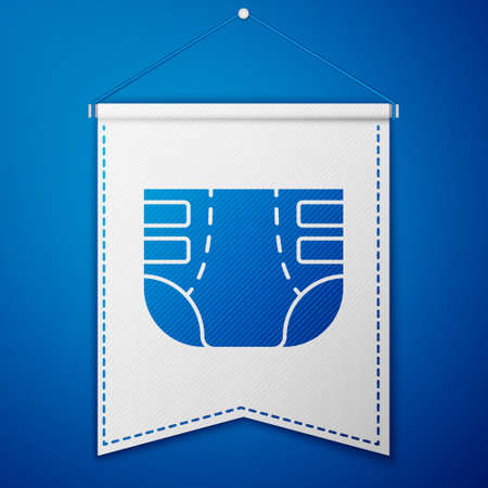 Blue Adult diaper icon isolated on blue background. White pennant template. Vector