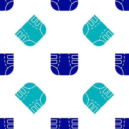 Blue Adult diaper icon isolated seamless pattern on white background. Vector