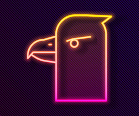 Glowing neon line Eagle head icon isolated on black background. Vector Illustration