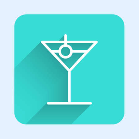 White line Martini glass icon isolated with long shadow. Cocktail icon. Wine glass icon. Green square button. Vector Illustration