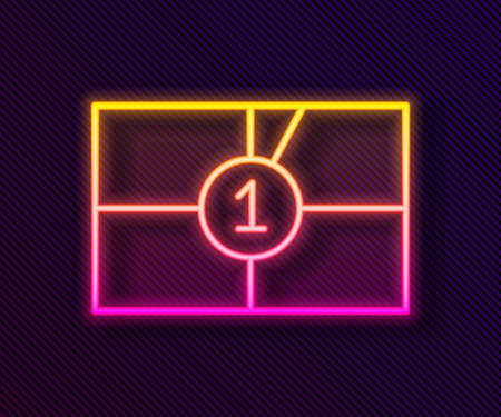 Glowing neon line Old film movie countdown frame icon isolated on black background. Vintage retro cinema timer count. Vector Illustration Illustration