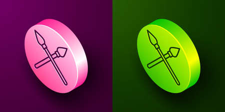 Isometric line Crossed medieval spears icon isolated on purple and green background. Medieval weapon. Circle button. Vector