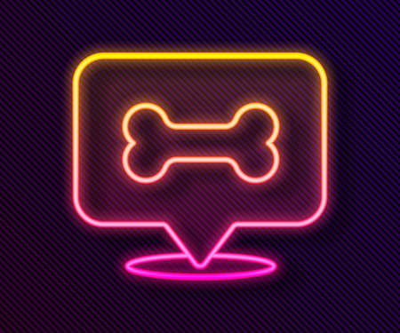 Glowing neon line Dog bone icon isolated on black background. Pets food symbol. Vector