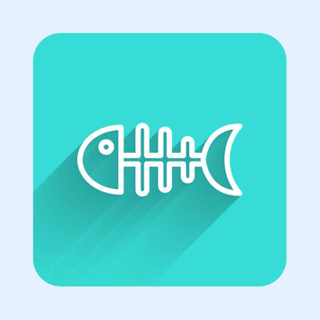 White line Fish skeleton icon isolated with long shadow. Fish bone sign. Green square button. Vector