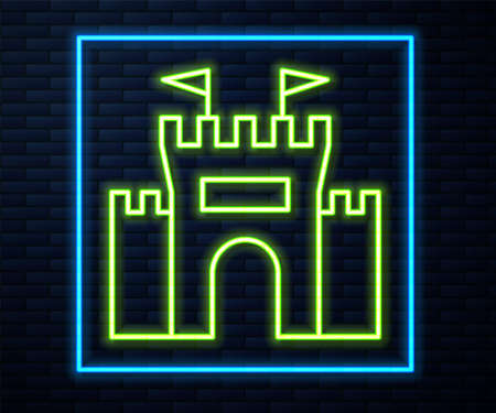 Glowing neon line Castle icon isolated on brick wall background. Vector Çizim