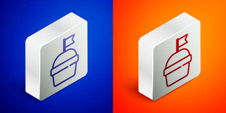 Isometric line Cake icon isolated on blue and orange background. Happy Birthday. Silver square button. Vector