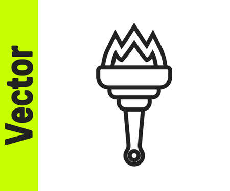 Black line Torch flame icon isolated on white background. Symbol fire hot, flame power, flaming and heat. Vector Çizim